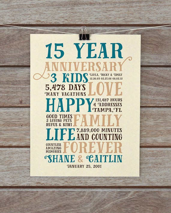 15 Year Anniversary Gift Ideas For Him  Anniversary Gifts 15 Year Anniversary Present for Him