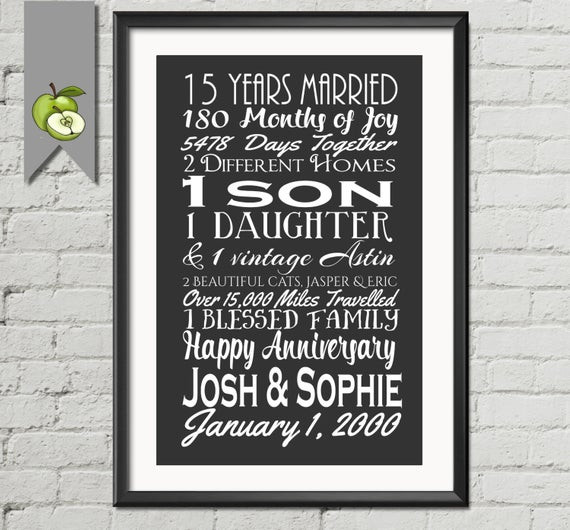 15 Year Anniversary Gift Ideas For Him  Items similar to wedding anniversary subway print