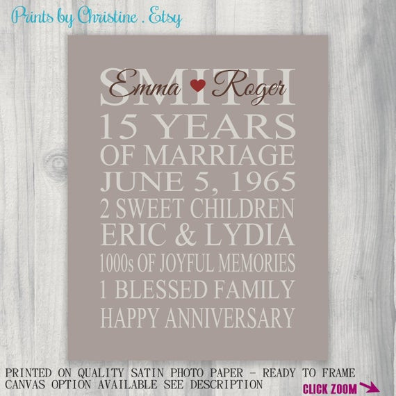 15 Year Anniversary Gift Ideas For Him  15 Year Anniversary Gift Print Wedding Anniversary