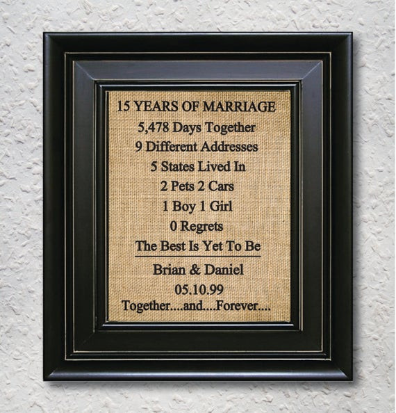 15 Year Anniversary Gift Ideas For Him  Items similar to Burlap Art Print 15th Anniversary t