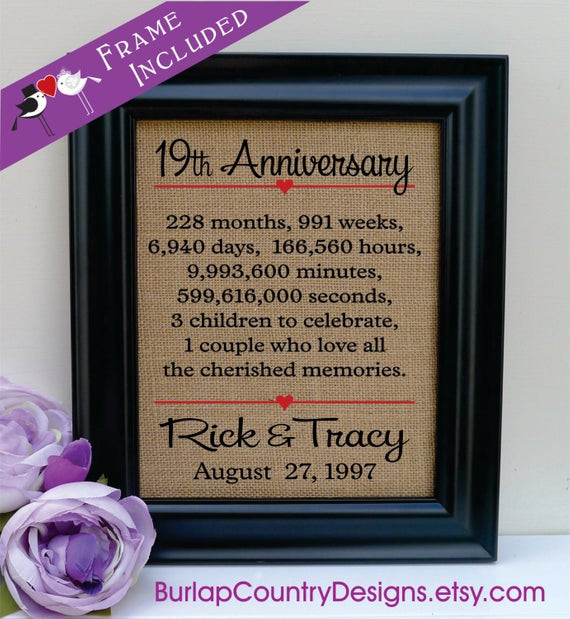19Th Wedding Anniversary Gift Ideas For Him  19th anniversary 19th wedding anniversary t 19th