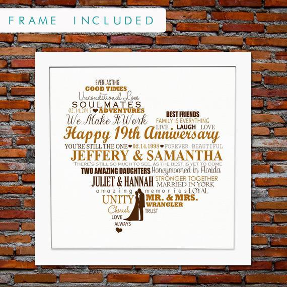 19Th Wedding Anniversary Gift Ideas For Him  19th anniversary t 19 years anniversary t 19 years of