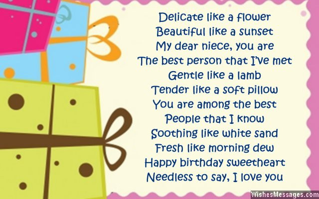 1St Birthday Wishes For Niece  Birthday poems for niece – WishesMessages