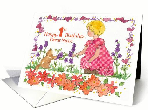 1St Birthday Wishes For Niece  Happy 1st Birthday Great Niece Little Girl Pet Kitten