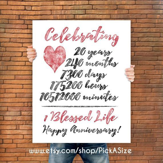 20 Anniversary Gift Ideas  20th anniversary 20 Year Anniversary Gift Print Wedding