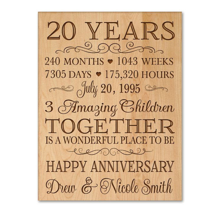 20 Anniversary Gift Ideas  Personalized 20th anniversary t for him 20 year wedding