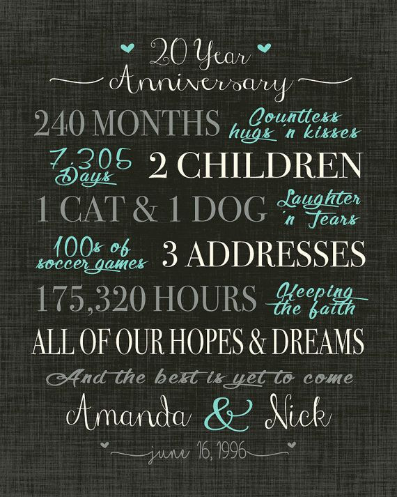 20 Anniversary Gift Ideas  Best 25 20 wedding anniversary ideas on Pinterest