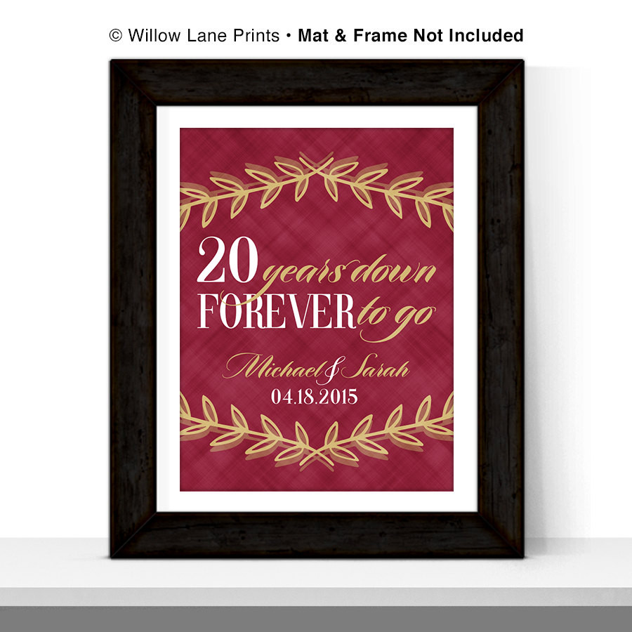 20 Anniversary Gift Ideas  20th anniversary t for husband or for wife 20th wedding