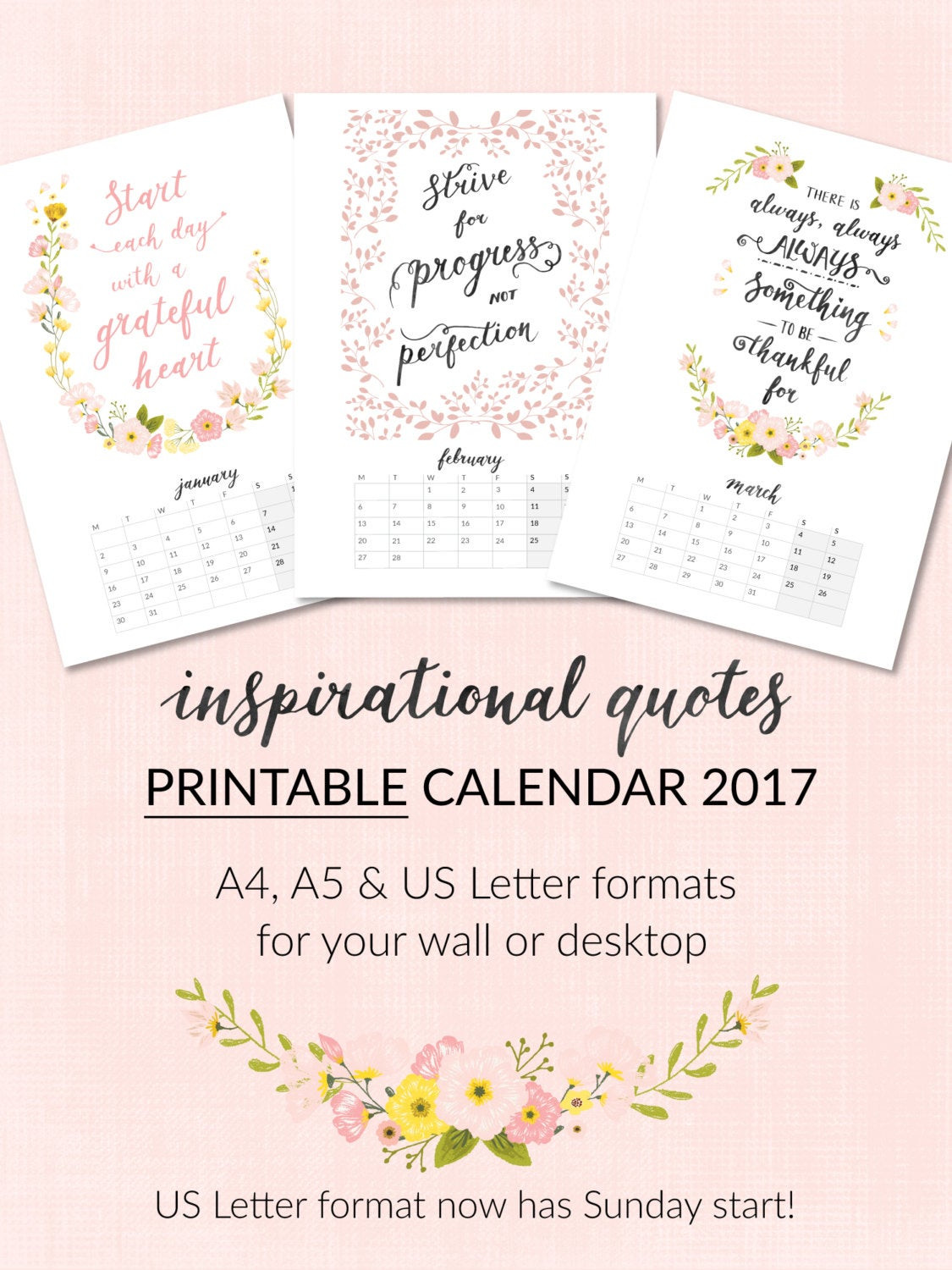 2017 Motivational Quotes  NOW OFF Printable Calendar 2017 Inspirational Quotes