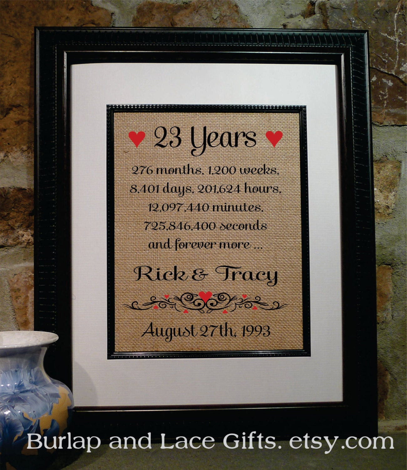 23Rd Wedding Anniversary Gift Ideas Husband  23rd Anniversary 23 Years To her Years Months Weeks Days