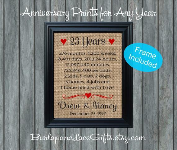 23Rd Wedding Anniversary Gift Ideas Husband  Items similar to 23rd Anniversary Wedding Gift to Wife