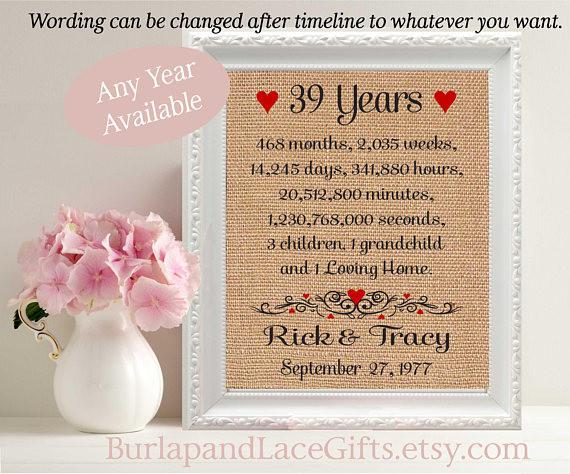 23Rd Wedding Anniversary Gift Ideas Husband  39th Anniversary Gift to Wife Gift to Husband Anniversary Gift