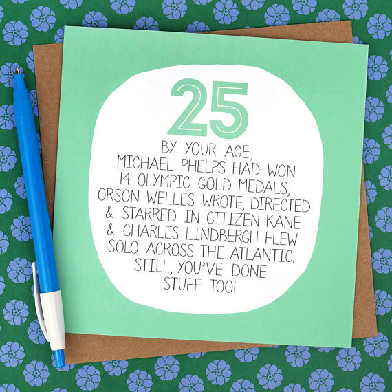 25Th Birthday Funny  25th Birthday Card Funny Card funny 25th card funny