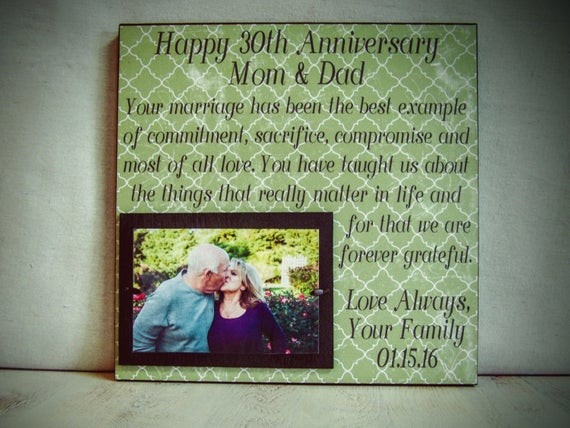 30Th Wedding Anniversary Gift Ideas For Parents  Personalized Anniversary Frame Wedding Anniversary