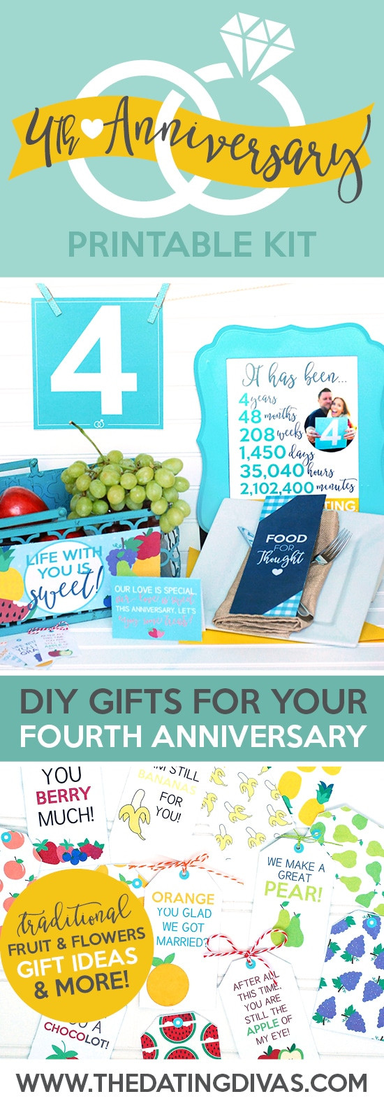 4Th Anniversary Gift Ideas  Fourth Anniversary Gift Printable Kit The Dating Divas