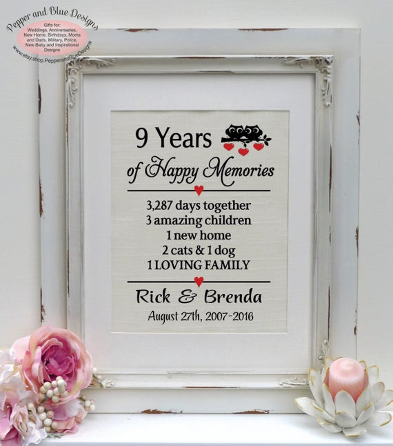 9Th Anniversary Gift Ideas For Her  9th anniversary ts 9th anniversary t by