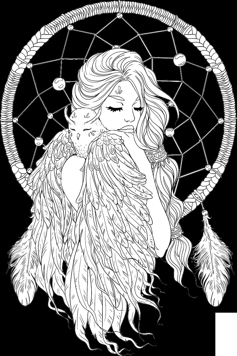 Adult Coloring Book Download  lineartsy free adult coloring page dreamcatcher lined