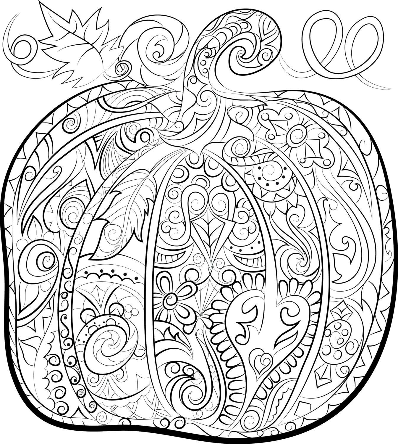Adult Coloring Book Download  Pumpkin adult colouring page Halloween instant