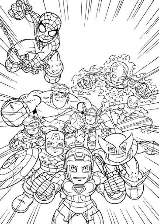 Adult Superhero Coloring Book  line Printable Image Super Hero Squad Free For Kids
