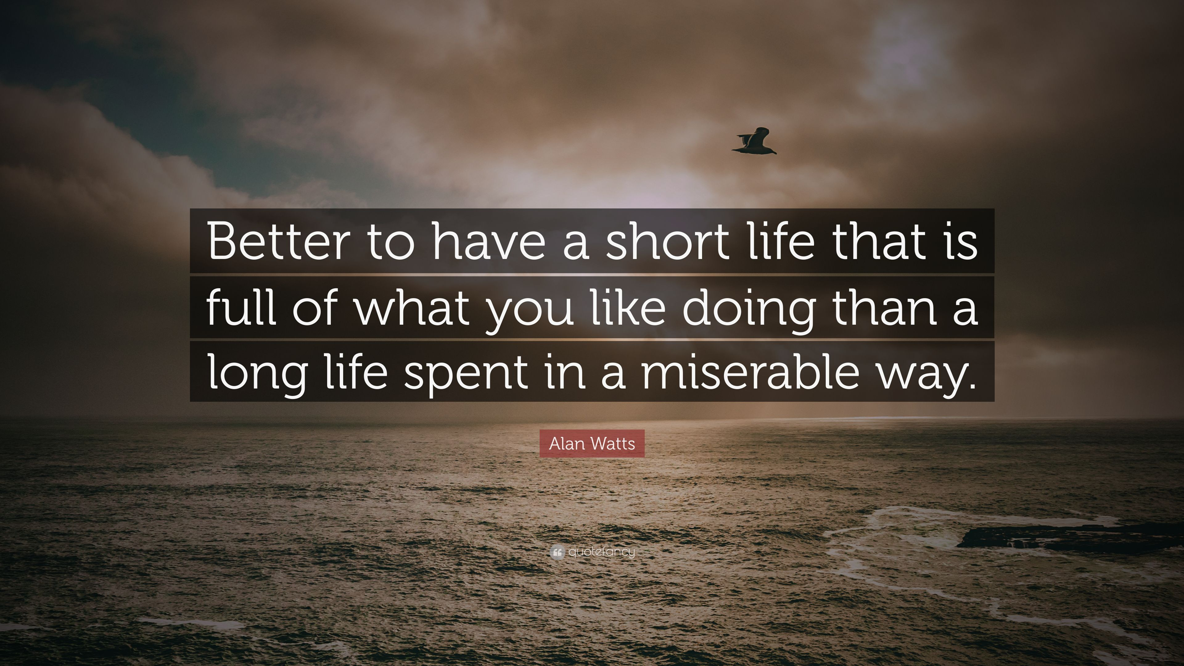 """Alan Watts Quotes About Life  Alan Watts Quote """"Better to have a short life that is"""