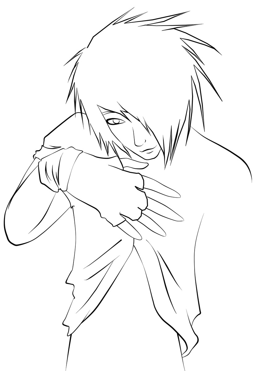 Anime Boys Coloring Pages Easy  Emo Guy Lineart by CookiiMii on DeviantArt