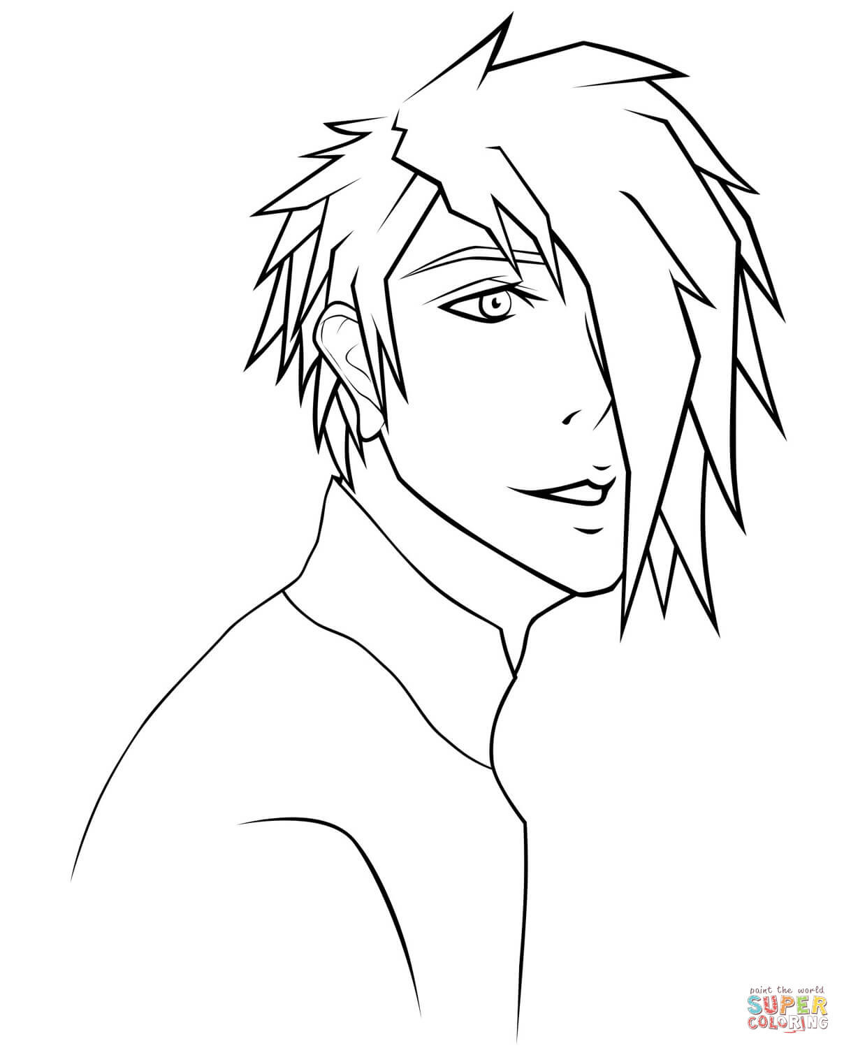 Anime Boys Coloring Pages Easy  Rj Anime Boy Portrait by Sugarcoated lipops coloring