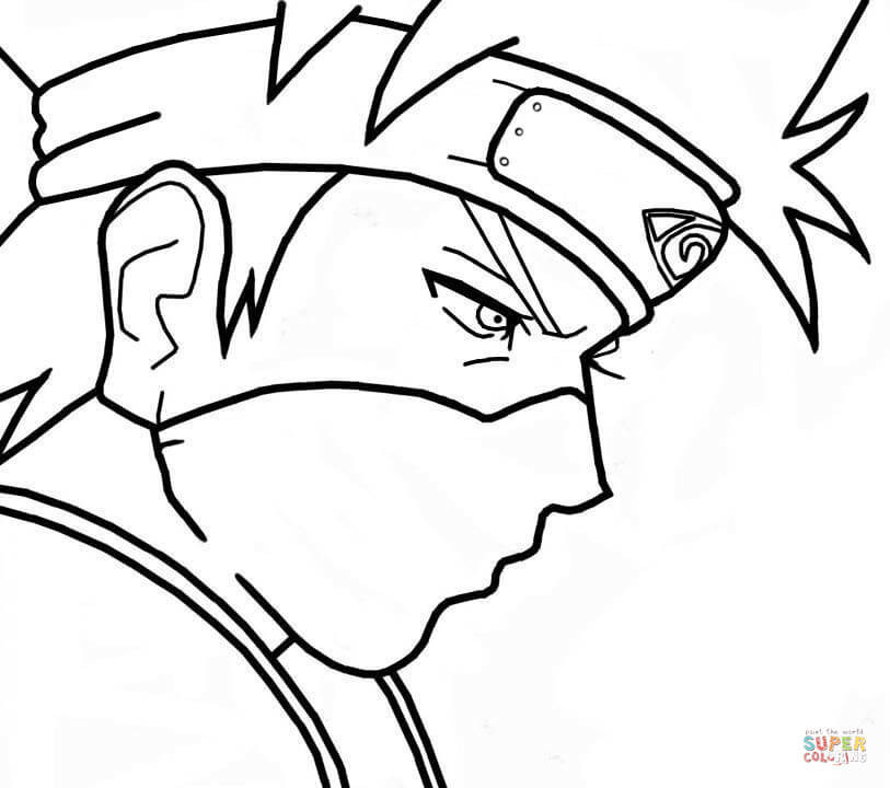 Anime Boys Coloring Pages Easy  Kakashi para Colorir e Imprimir Muito Fácil Colorir e