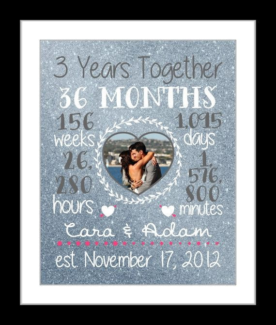 Anniversary Gift Ideas For Girlfriend  Any 3 Year Anniversary Gift 3 Year Wedding Anniversary