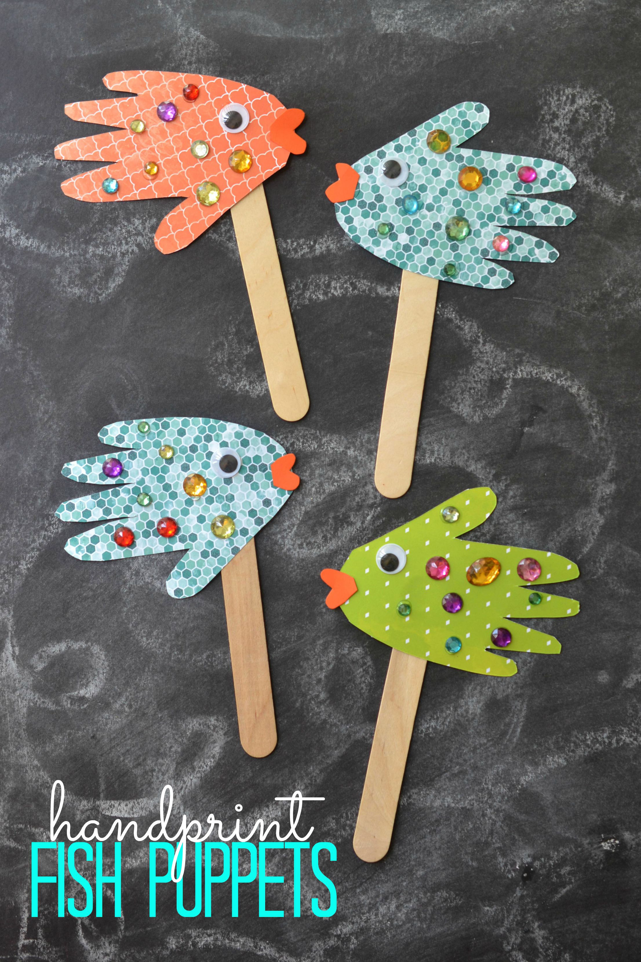 Art And Craft For Preschool  Handprint Fish Puppets Kid Craft Glued To My Crafts