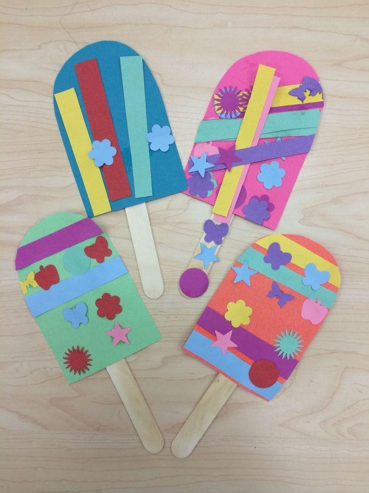 Art And Craft For Preschool  Popsicle Summer Art Craft for Preschoolers Kindergarten