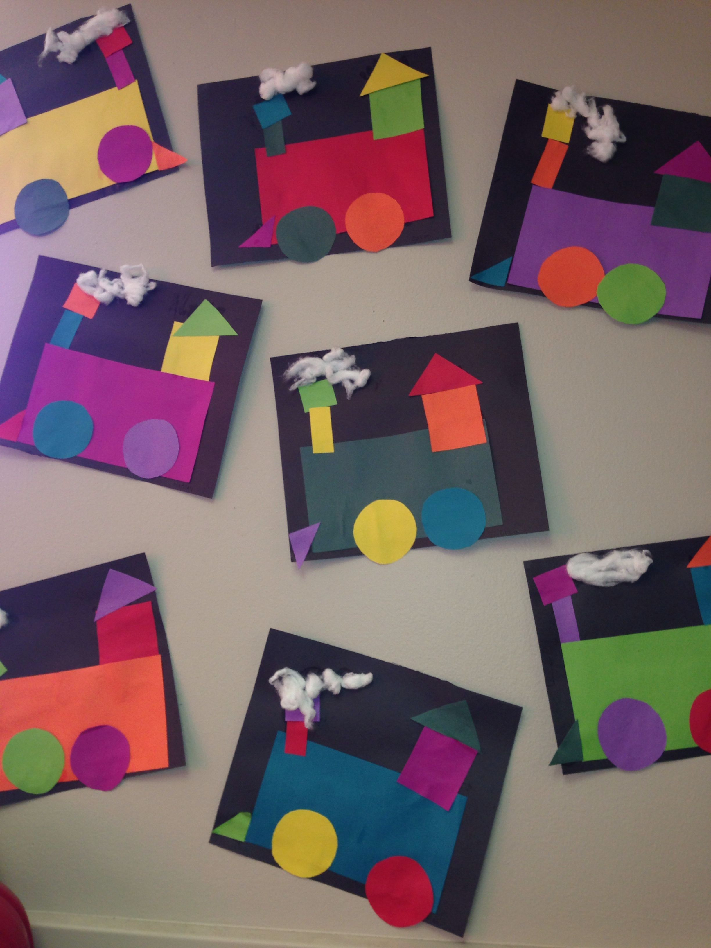 Art And Craft For Preschool  shape craft transportation week shape train