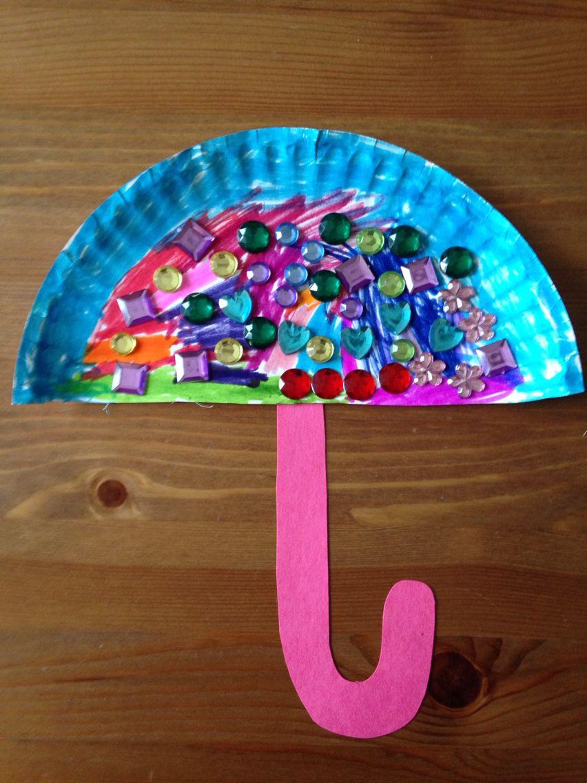Art And Craft For Preschool  Paper Plate Umbrella Craft Preschool Craft