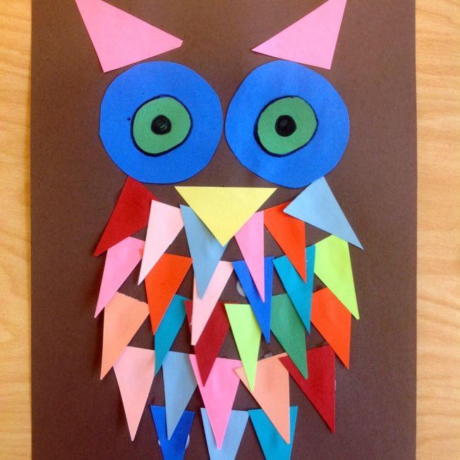 Art And Craft For Preschool  Kindergarten Shape Owls Kids art