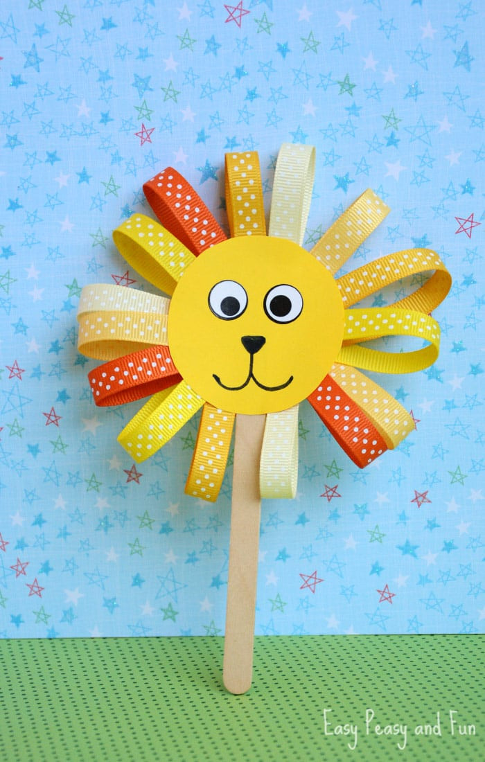 Art And Craft Ideas For Kids  Ribbon Lion Puppet Craft Lion Crafts for Kids Easy