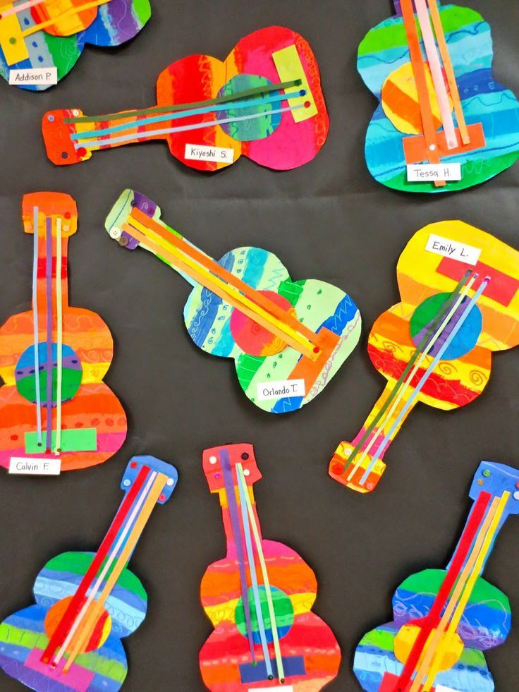Art And Craft Ideas For Kids  These collage guitars are adorable Perfect art project