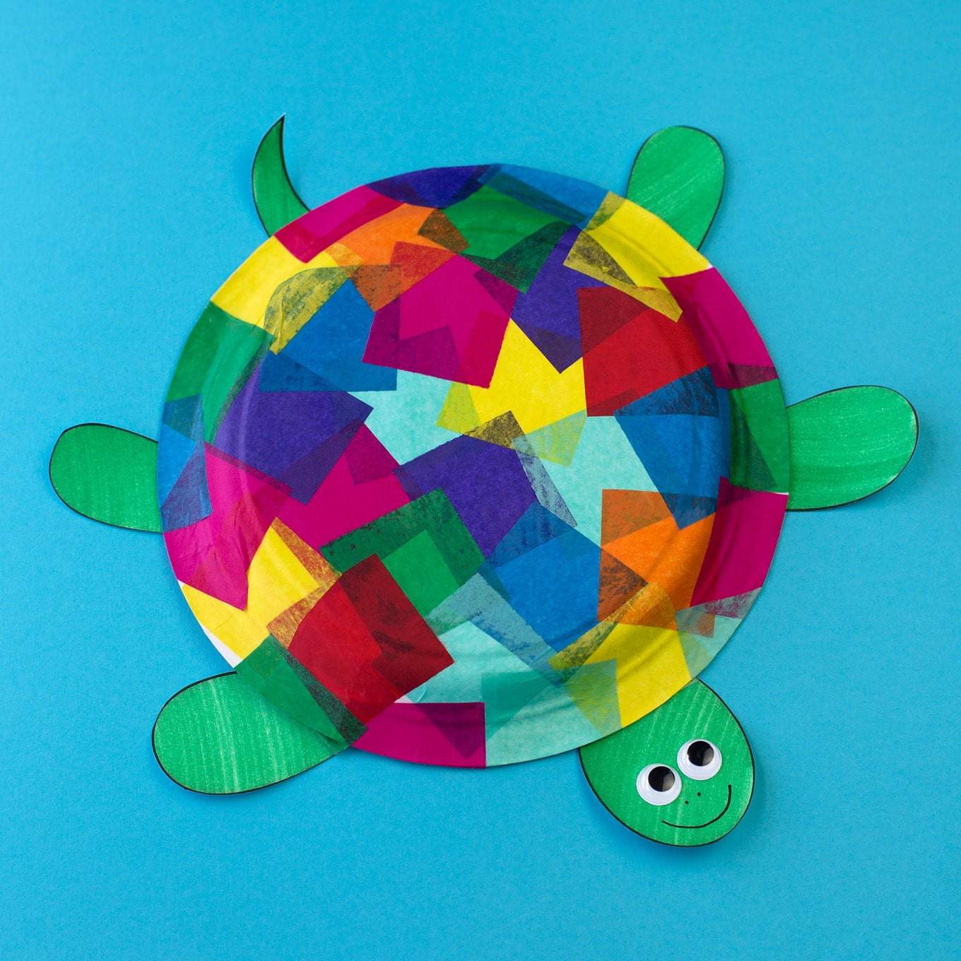 Art And Craft Ideas For Kids  Tissue Paper and Paper Plate Turtle Craft