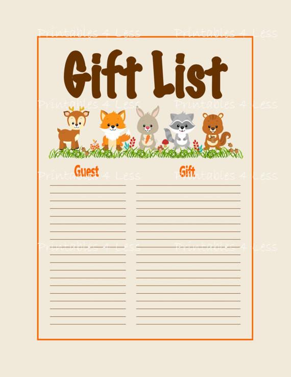 Baby Shower Gift List Ideas  Woodlands Gift List Printable Woodlands Baby Shower Gift