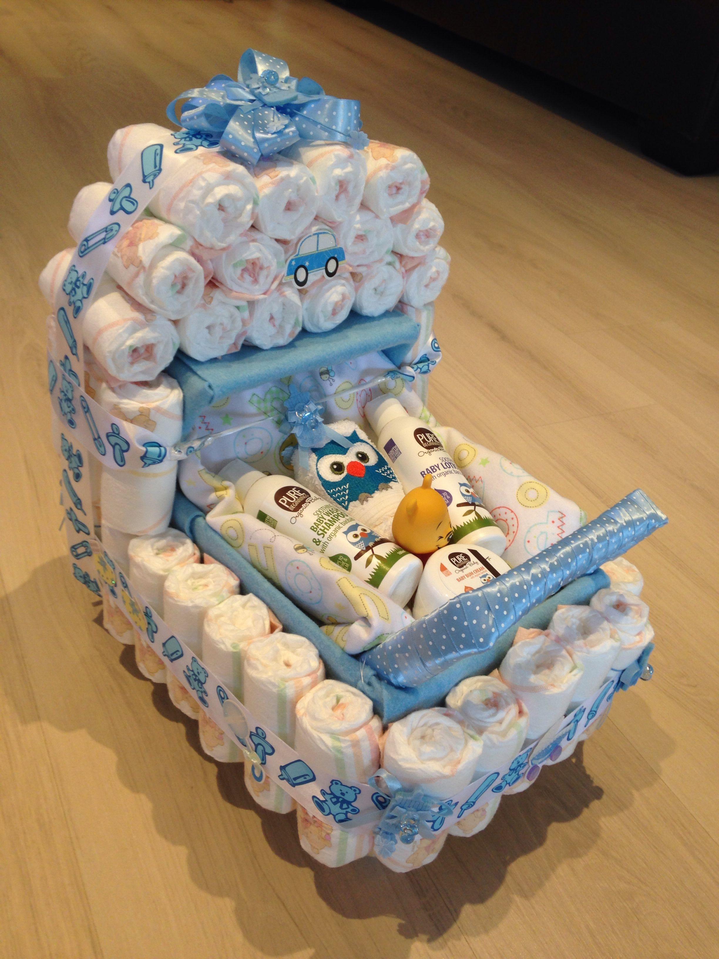 Baby Shower Gift List Ideas  Baby shower present nappy stroller idea