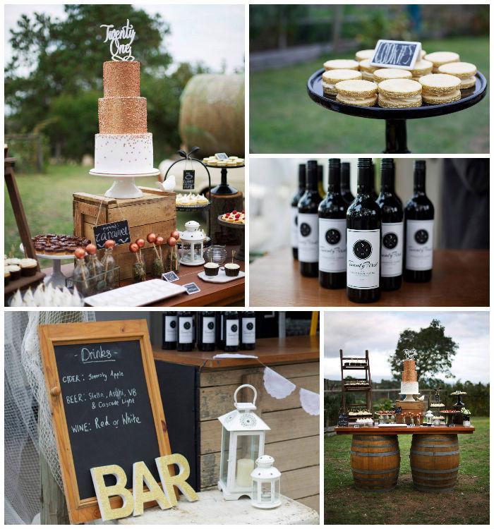 Backyard 21St Birthday Party Ideas  Kara s Party Ideas Rustic Gold & Bronze Birthday Party