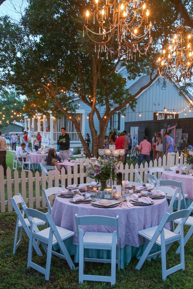 Backyard Party Set Up Ideas  string lights outdoor party graduation shower