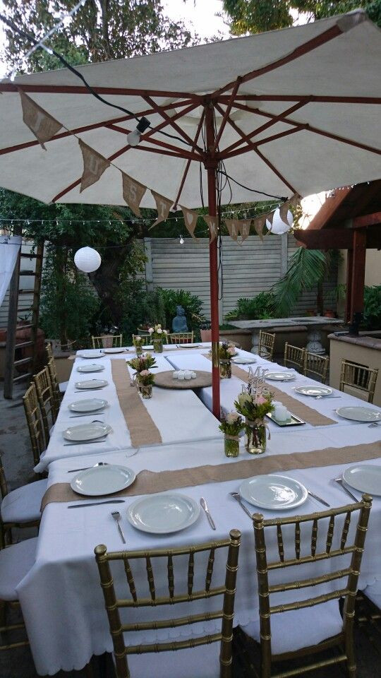Backyard Party Set Up Ideas  Starting with table setup for our backyard bbq party