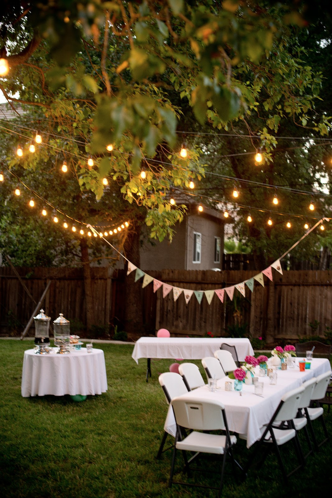 Backyard Party Set Up Ideas  Domestic Fashionista Backyard Birthday Fun Pink