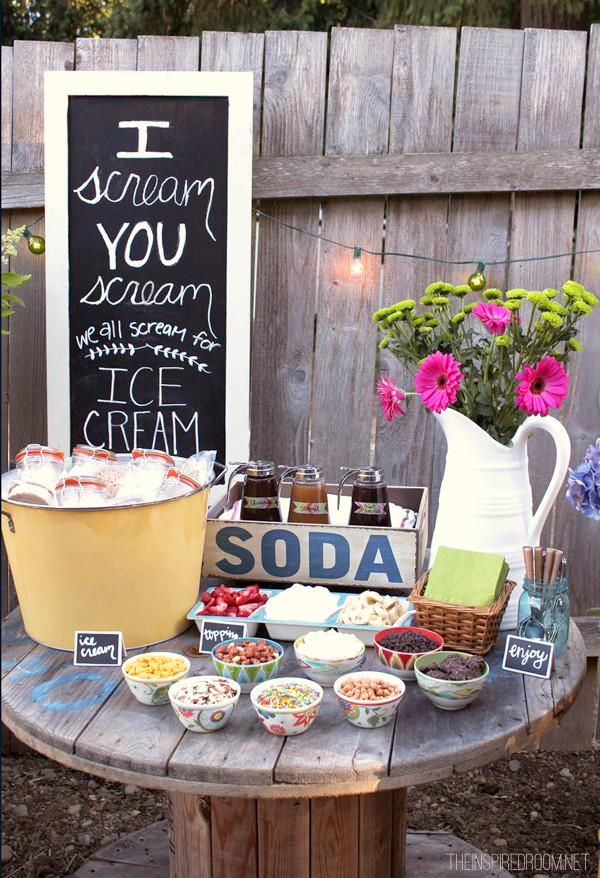 Backyard Summer Party Decorating Ideas  Backyard Ice Cream Party Summer Fun The Inspired Room