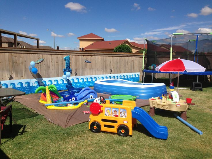 Backyard Water Park Party Ideas  Water party Maddox is ONE Pinterest