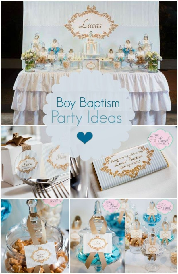 Baptism Gift Ideas For Baby Girl  Boy Baptism Party in Blue White and Gold