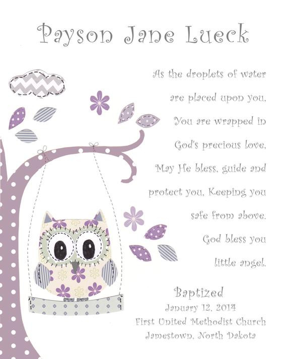 Baptism Gift Ideas For Baby Girl  Baptism Gift for Baby Girl Christening Gift for Girls Owl