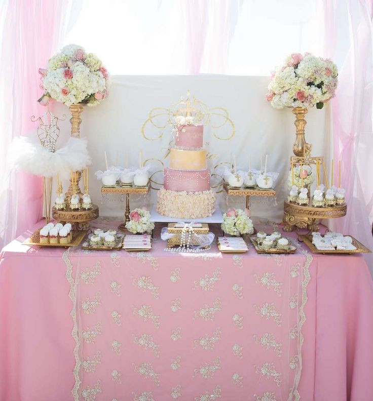 Baptism Gift Ideas For Baby Girl  Gorgeous pink and gold baptism party See more party ideas