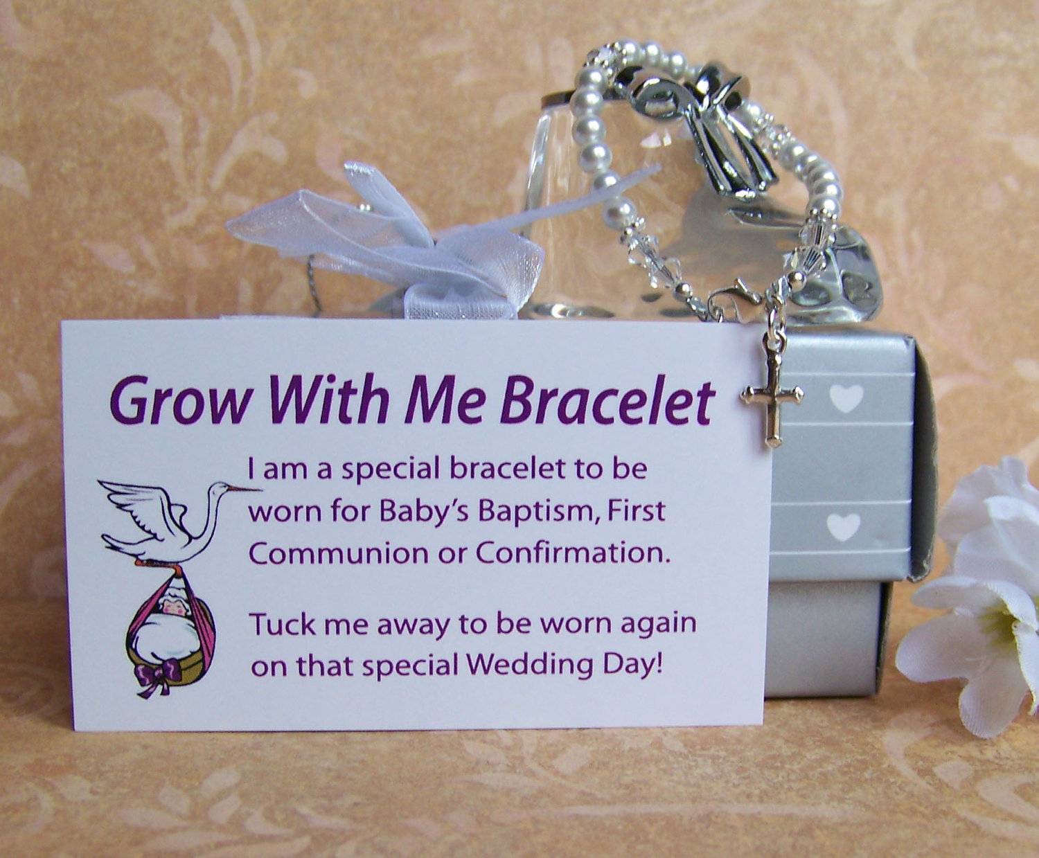 Baptism Gift Ideas For Baby Girl  Baby Girl Baptism Bracelet Grow With Me by luckycharm5286