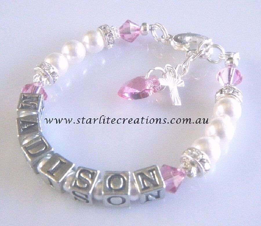 Baptism Gift Ideas For Baby Girl  Christening Baptism Gift BABY GIRL S Name Bracelet