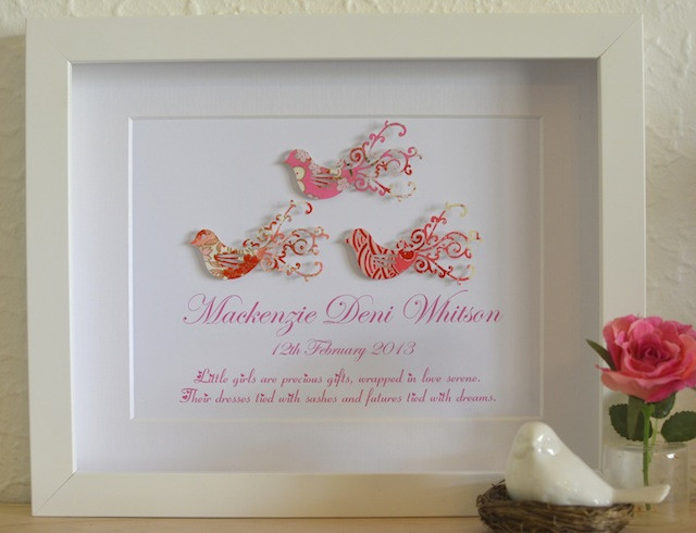Baptism Gift Ideas For Baby Girl  Love Bird Baby Girl Unique Christening Poem Gift Idea